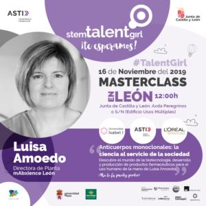 Cartel de la primera masterclass que tendrá lugar en leon el 16 de noviembre del proyecto STEM Talent Girl