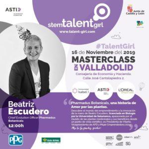 cartel de beatriz escudero que participará como mentora en una de las masterclass que se ofrecen en valladolid del proyecto STEM talent girl